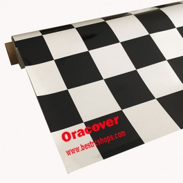 ORACOVER επικάλυψη τηλεκατευθυνόμενου αεροπλάνου,  Καρώ λευκό-μαύρο, θερμοσυρικνούμενη, 1m